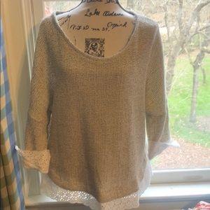 Anthropologie knit floral laser cut sweater,Sz XL